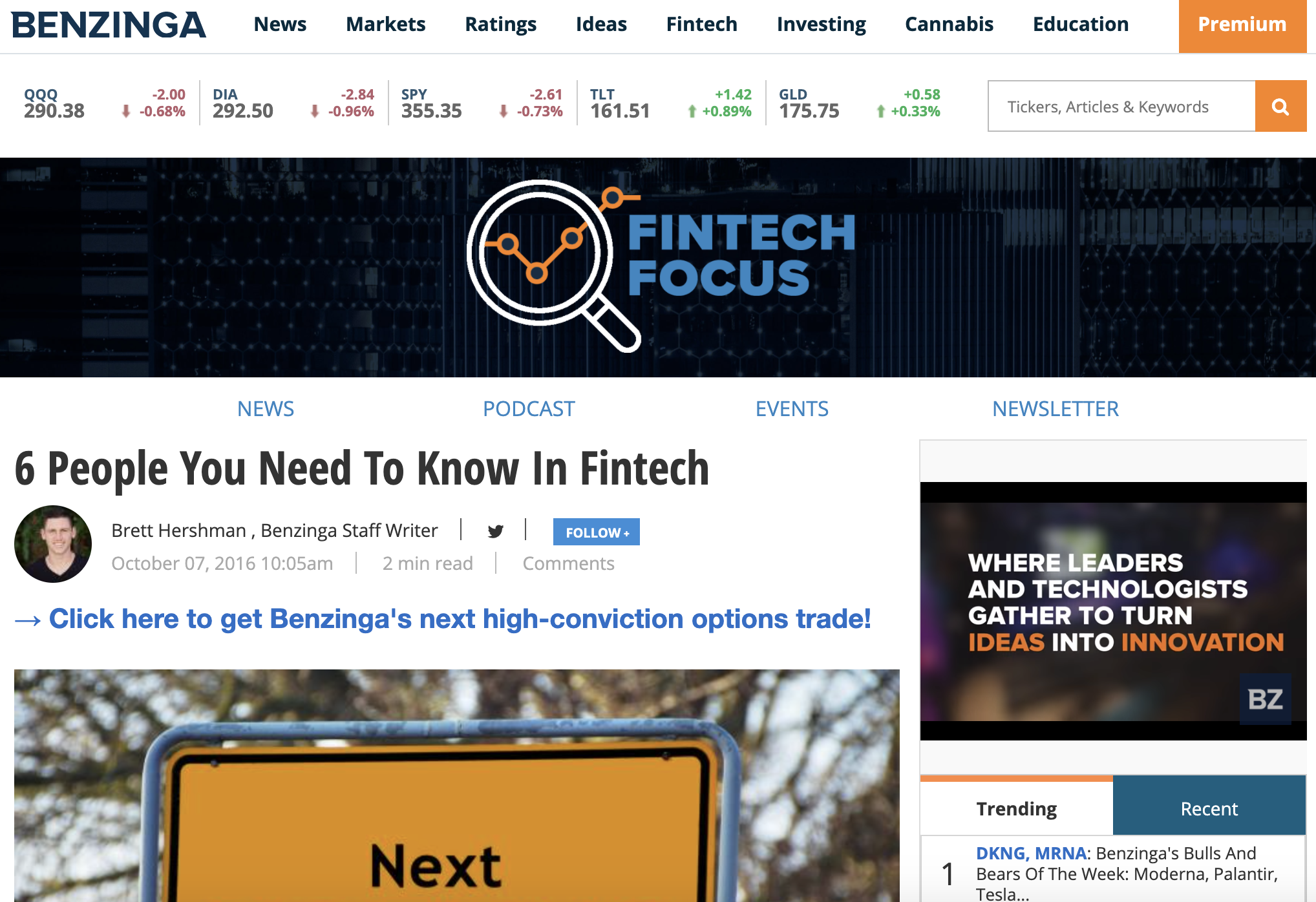 Benzinga Names Due Founder and CEO as Person to Know in Fintech